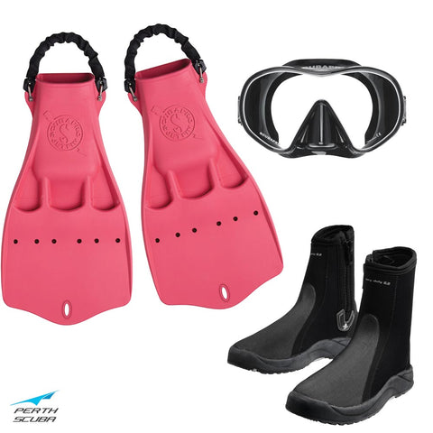 Tec Jet Mask, Boots and Fins Package Pink