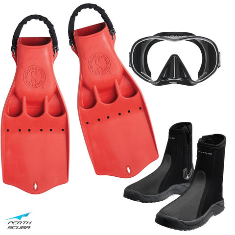 Tec Jet Mask, Boots and Fins Package Red