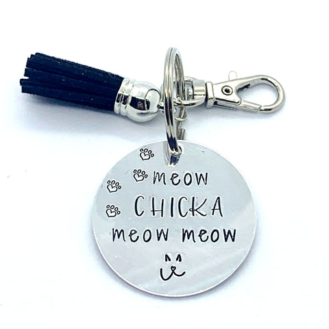 Key Chain - Circle Shape - Meow Chicka Meow Meow