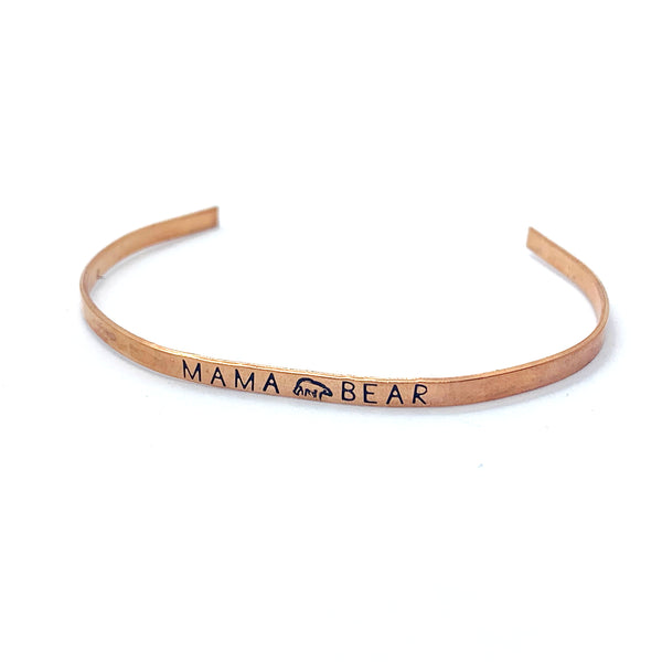 ⅛ inch Copper Cuff - Mama Bear