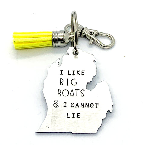 Key Chain - Michigan Shape - I Like Big Boats