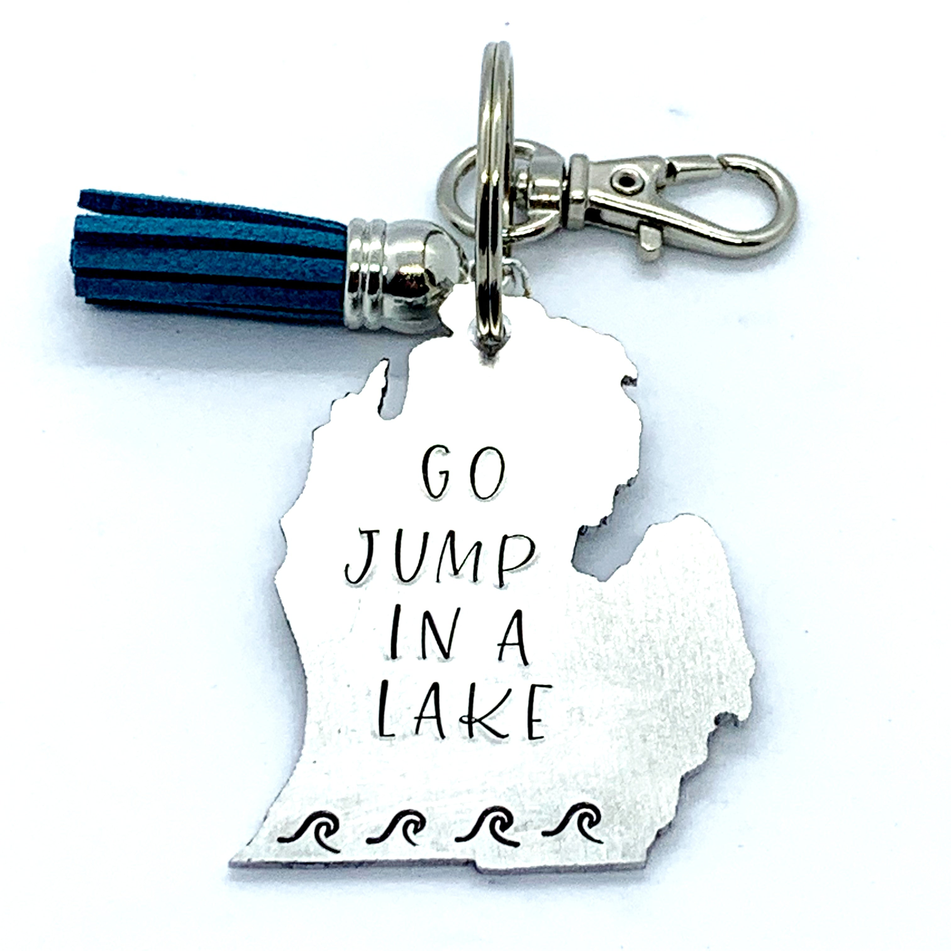 Key Chain - Michigan Shape - Go Jump In A Lake