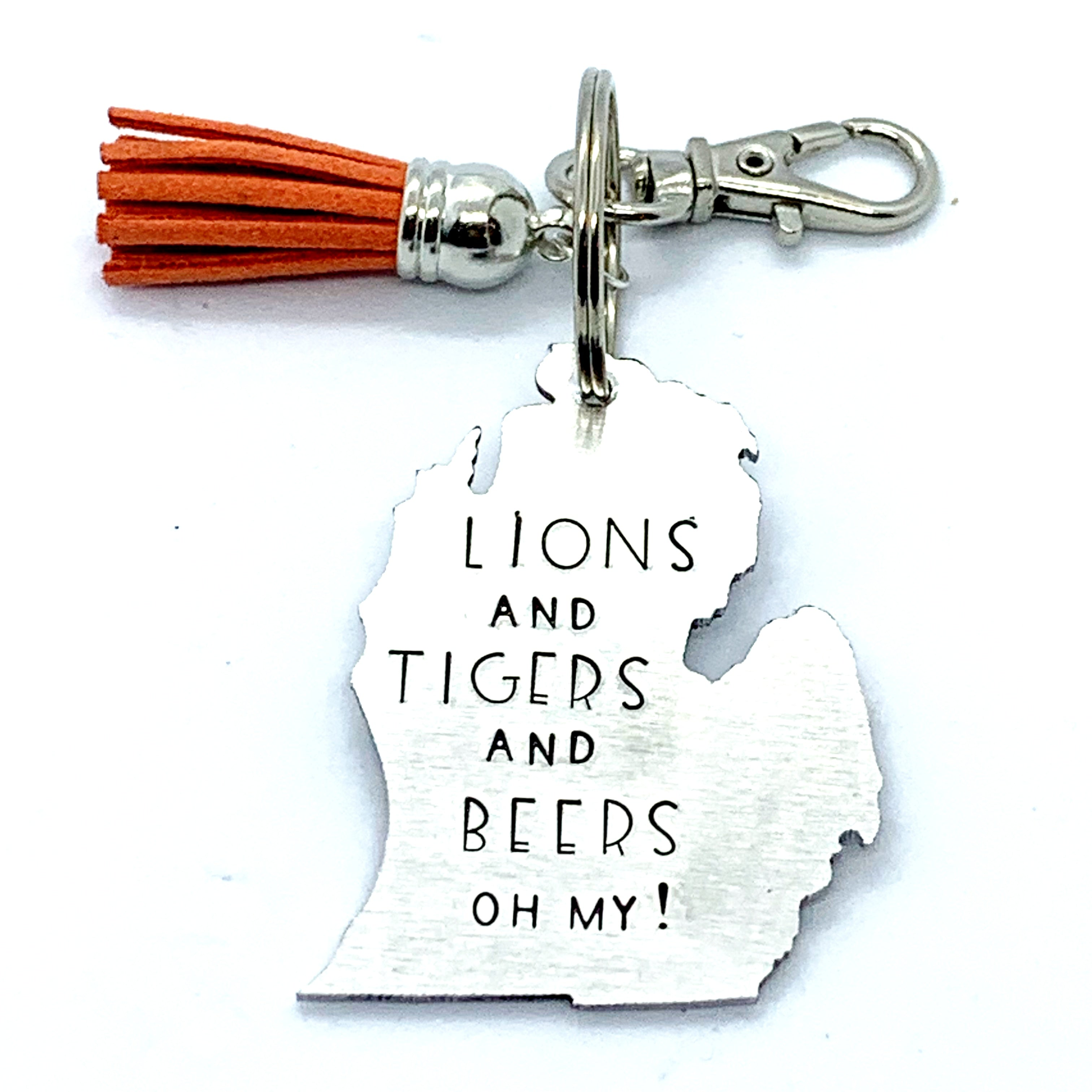 Key Chain - Michigan Shape - Lions And Tigers And Beers Oh My!