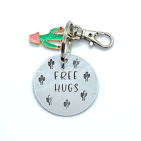 Key Chain - Circle Shape w/ Specialty Tassel - Free Hugs