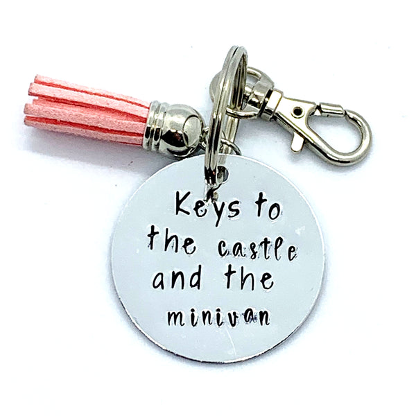 Key Chain - Circle Shape - Keys To The Castle And The Minivan