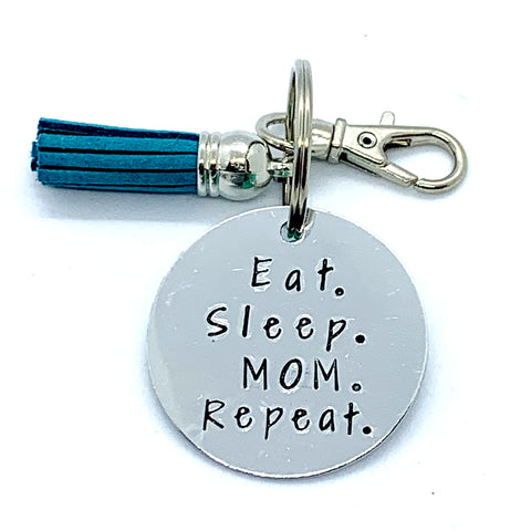 Key Chain - Circle Shape - Eat. Sleep. Mom. Repeat.