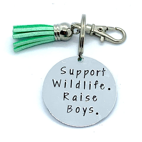 Key Chain - Circle Shape - Support Wildlife. Raise Boys.