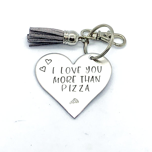 Key Chain - Heart Shape - I Love You More Than Pizza