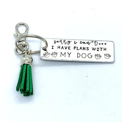 Key Chain - Large Rectangle - Sorry I Can't I Have Plans With My Dogs