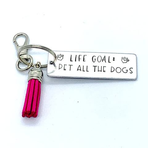 Key Chain - Large Rectangle - Life Goal: Pet All Dogs