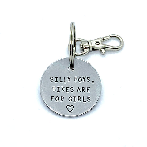 Key Chain - Simple Circle - Silly Boys, Bikes Are For Girls
