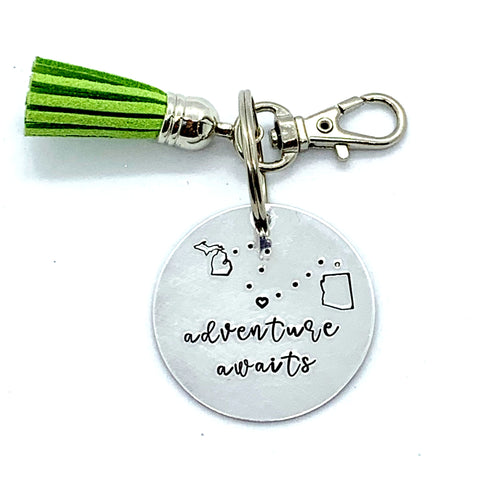 Custom Key Chain with Tassel - Circle - Adventure Awaits