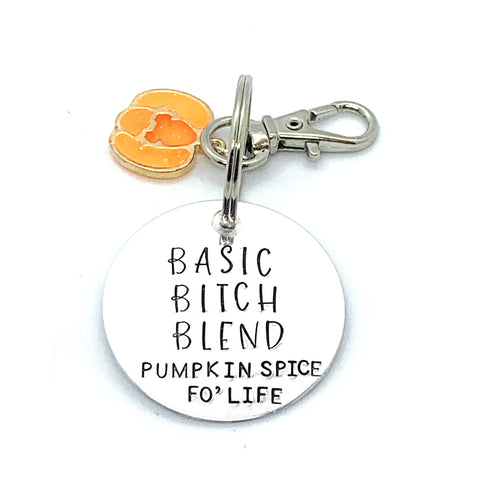 Key Chain - Circle Shape w/ Specialty Tassel - Basic Bitch Blend - Pumpkin Spice fo' Life
