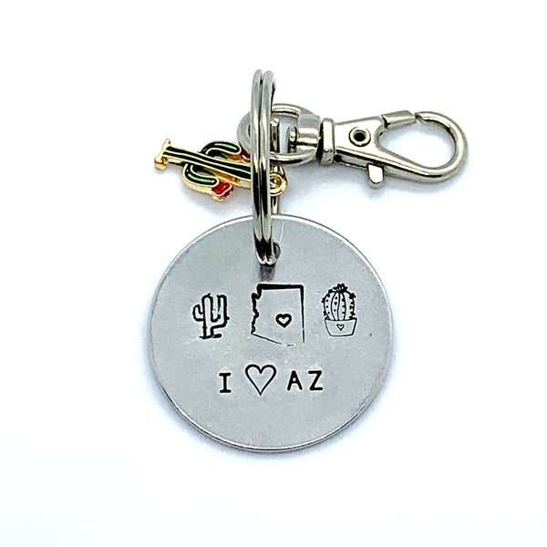 "Key Chain - Simple Circle w/ Specialty Tassel - I ""heart"" AZ"