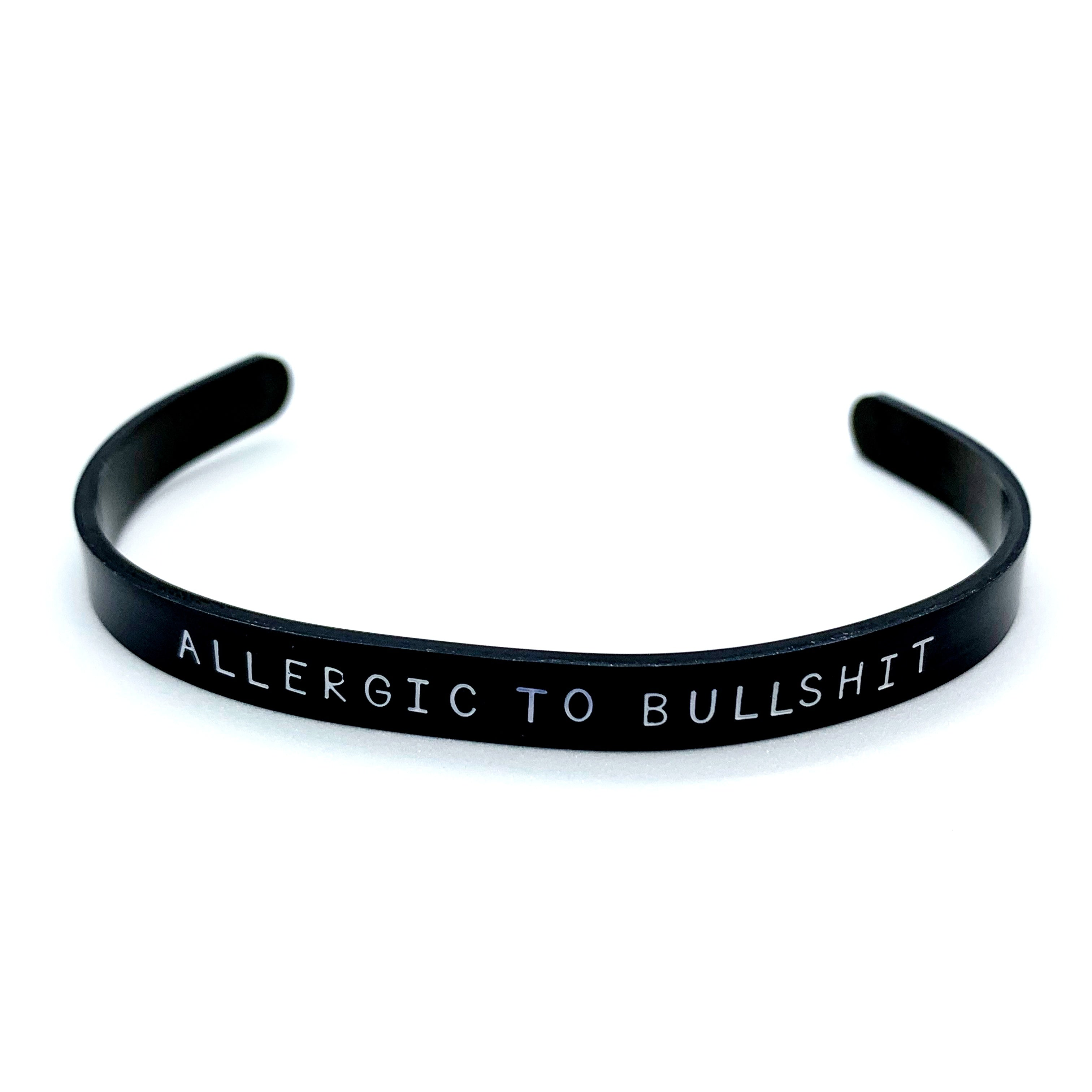 ¼ inch Stainless Steel Black Cuff - Allergic To Bullshit