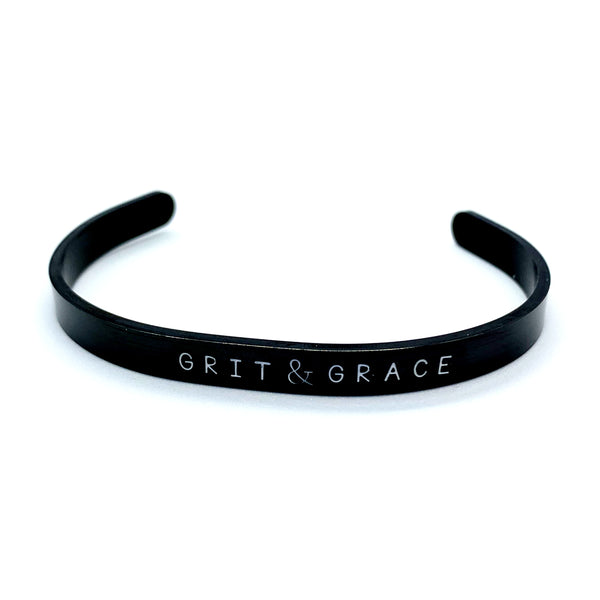 ¼ inch Stainless Steel Black Cuff - Grit & Grace