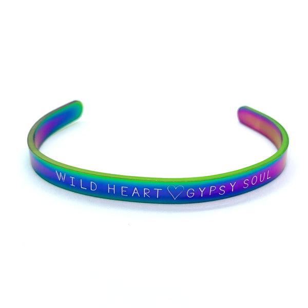 ¼ inch Stainless Steel Rainbow Cuff - Wild Heart Gypsy Soul