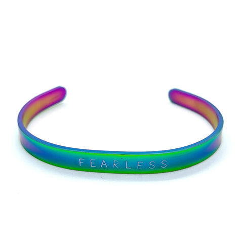 ¼ inch Stainless Steel Rainbow Cuff - Fearless