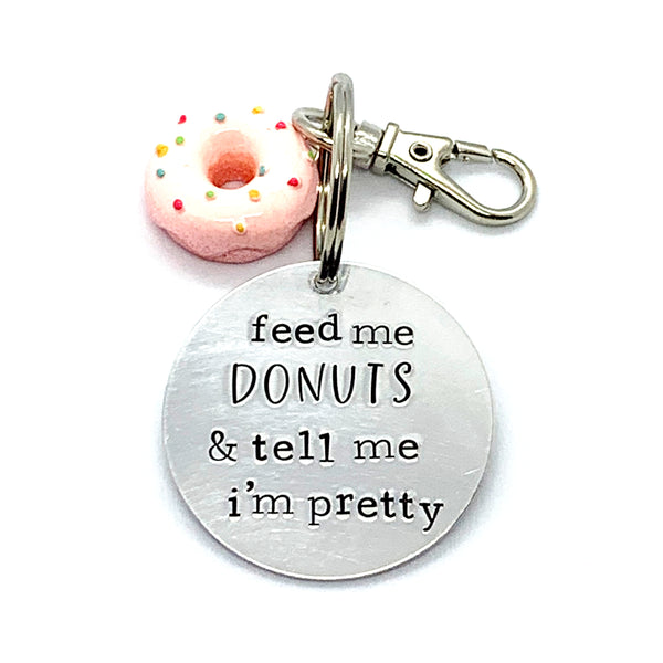 Key Chain - Circle Shape w/ Specialty Tassel - Feed Me Donuts And Tell Me I'm Pretty