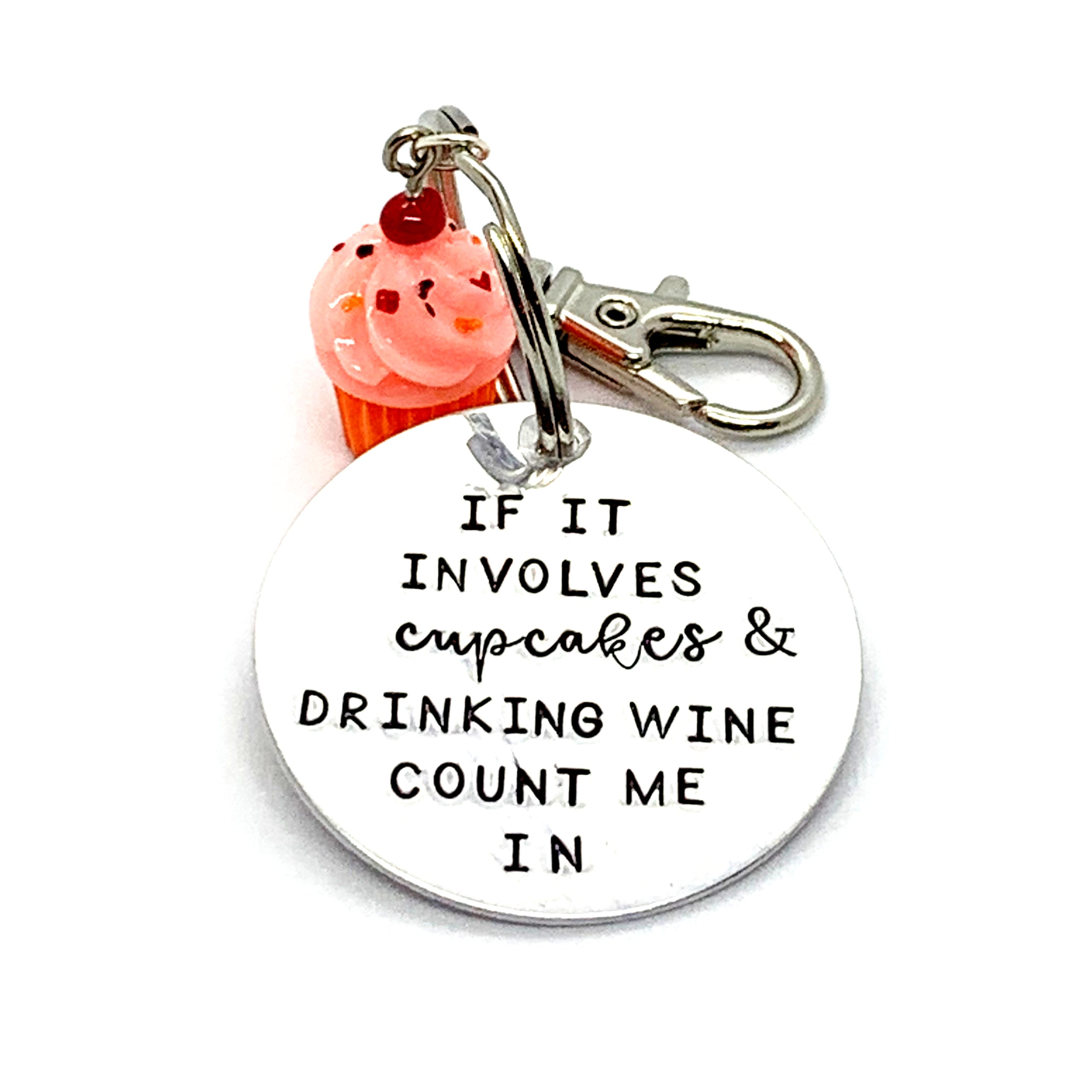 Key Chain - Circle Shape w/ Specialty Tassel - If It Involves Cupcakes & Drinking Wine Count Me In