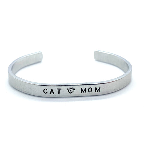 ¼ inch Aluminum Cuff - Cat Mom