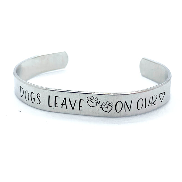 "⅜ inch Aluminum Cuff - Dogs Leave ""prints"" On Our ""hearts"""