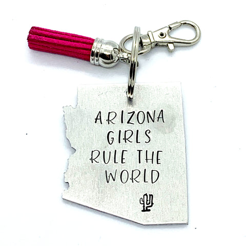 Key Chain - Arizona Shape - Arizona Girls Rule The World