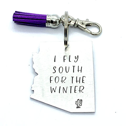 Key Chain - Arizona Shape - I Fly South For The Winter