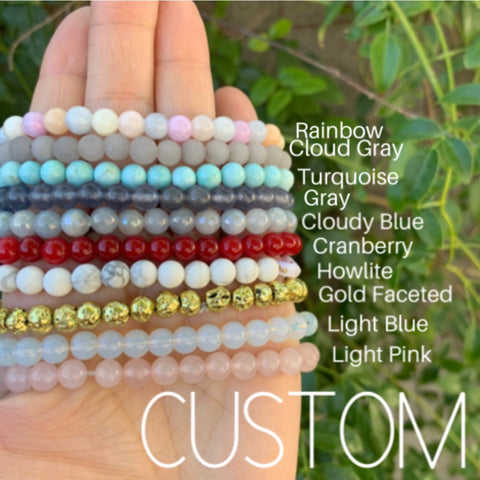 Custom beaded bracelet - choose saying and stone color
