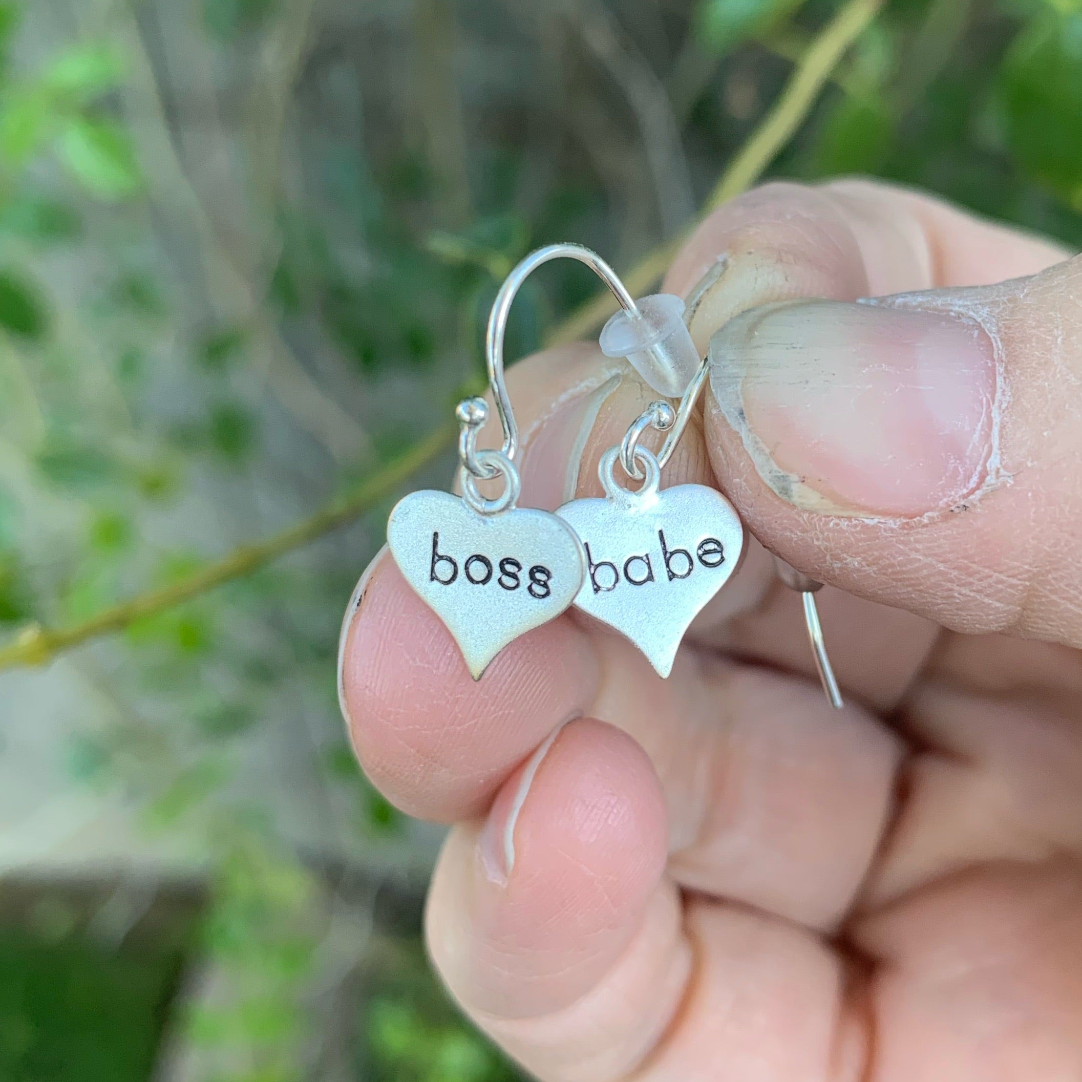 "Pair of sterling silver earrings - heart shape - ""boss babe"""