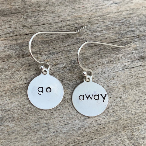 "Pair of sterling silver earrings - circle shape - ""go away"""