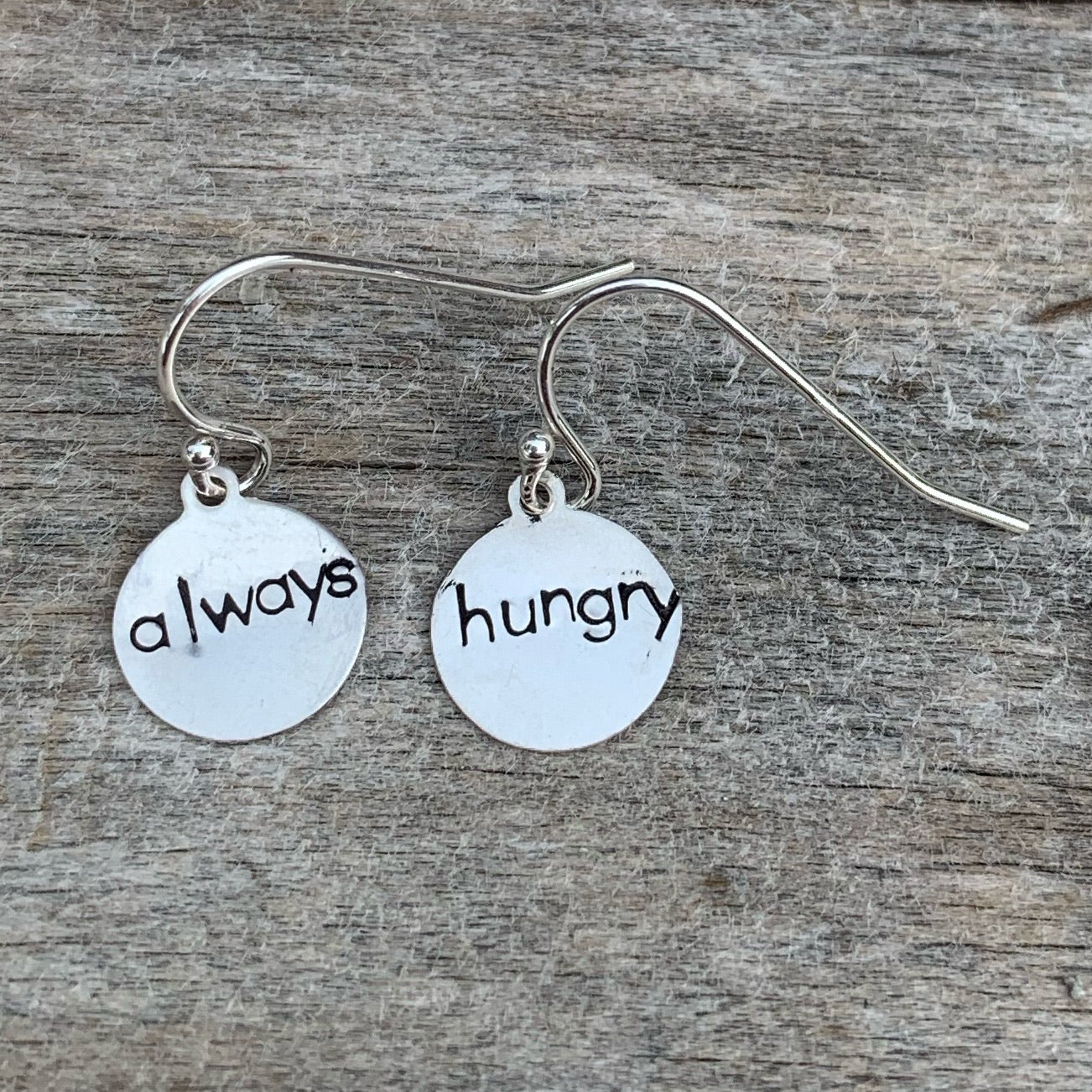 "Pair of sterling silver earrings - circle shape - ""always hungry"""