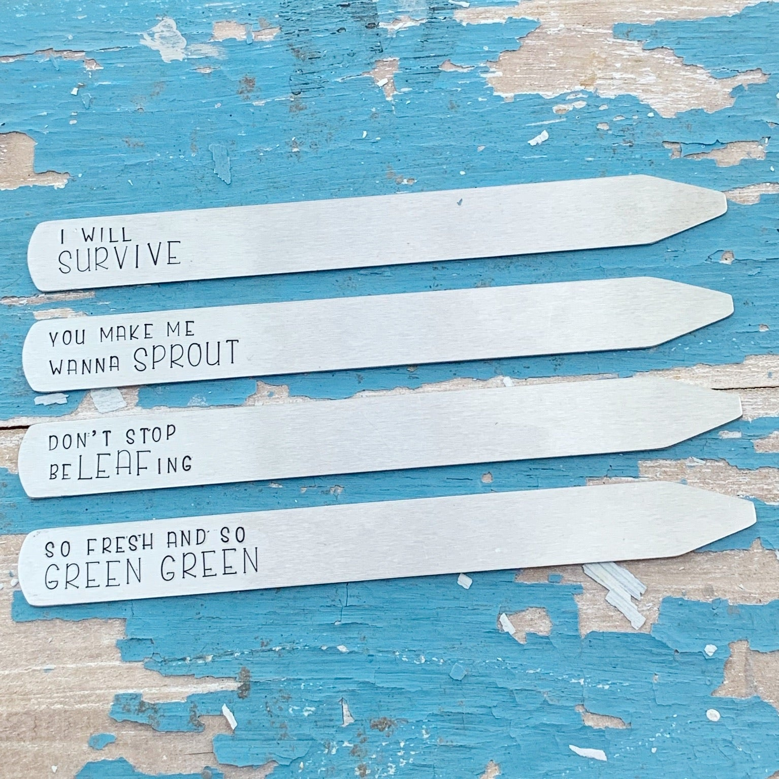 Garden Plant Stakes - Aluminum - Set of 4 - Song Lyrics