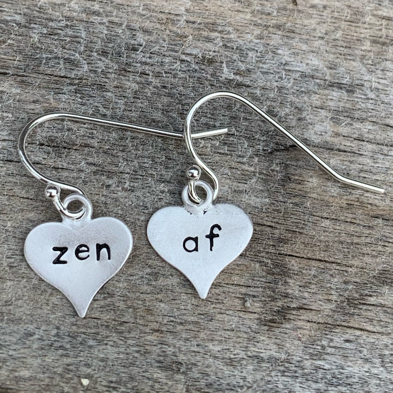 "Pair of sterling silver earrings - heart shape - ""zen af"""