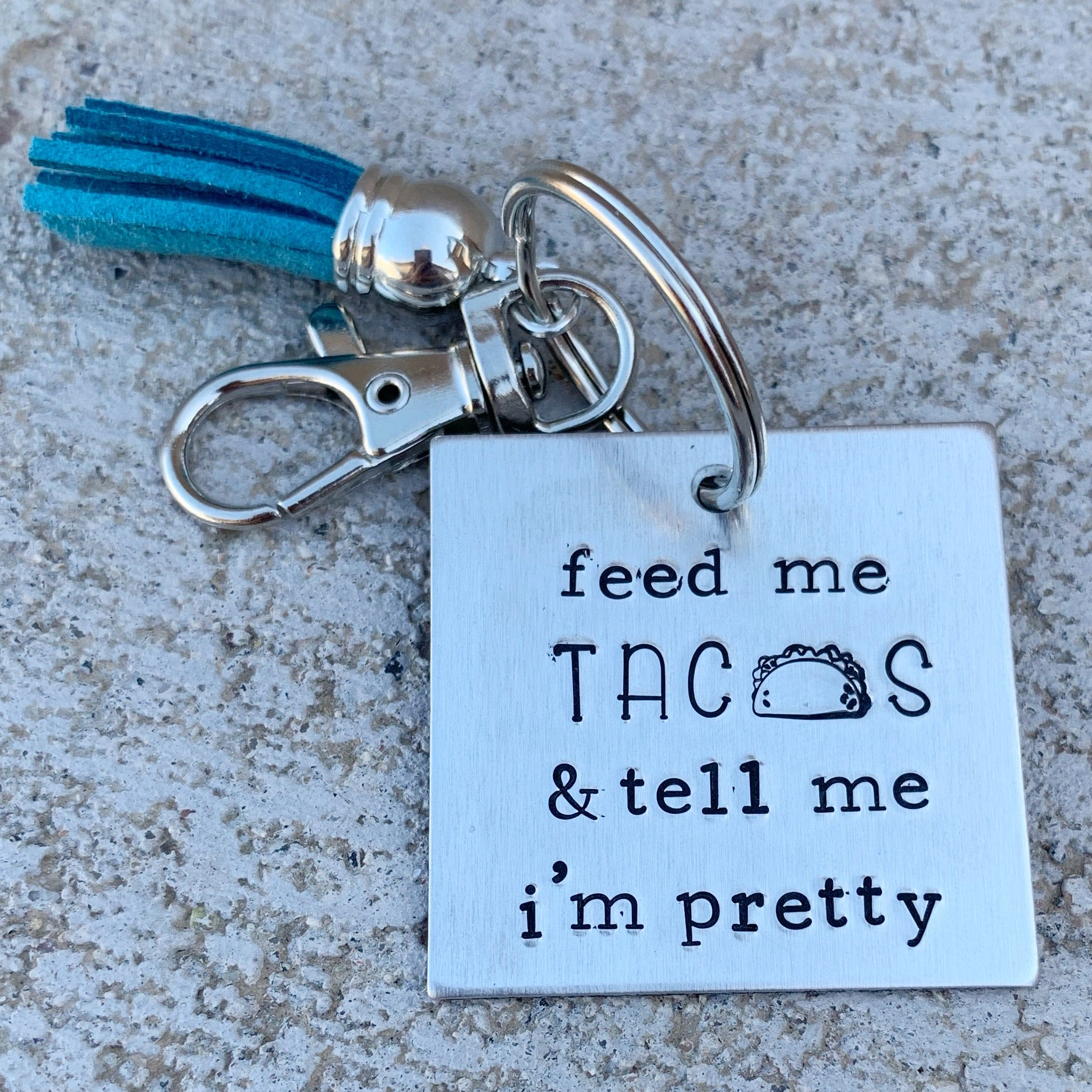 Feed Me Tacos square keychain