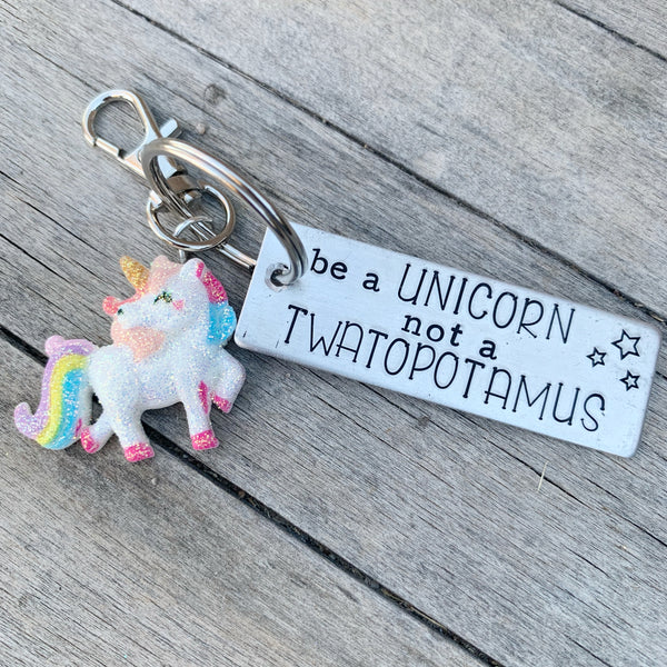 Key Chain - Rectangle shape w/ Specialty Tassel - Be a unicorn not a twatopotomus