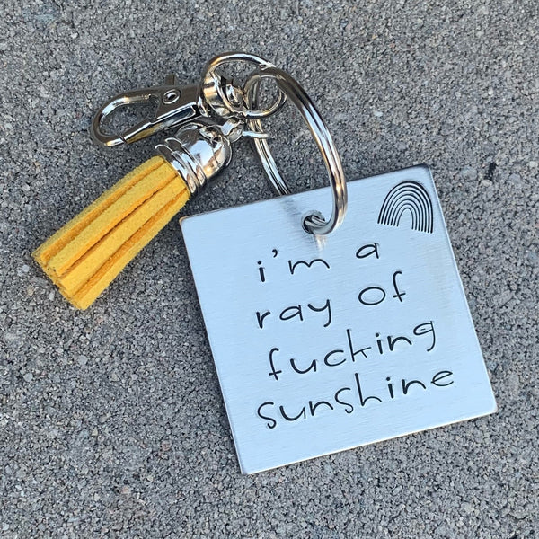 I'm a ray of fucking sunshine square keychain