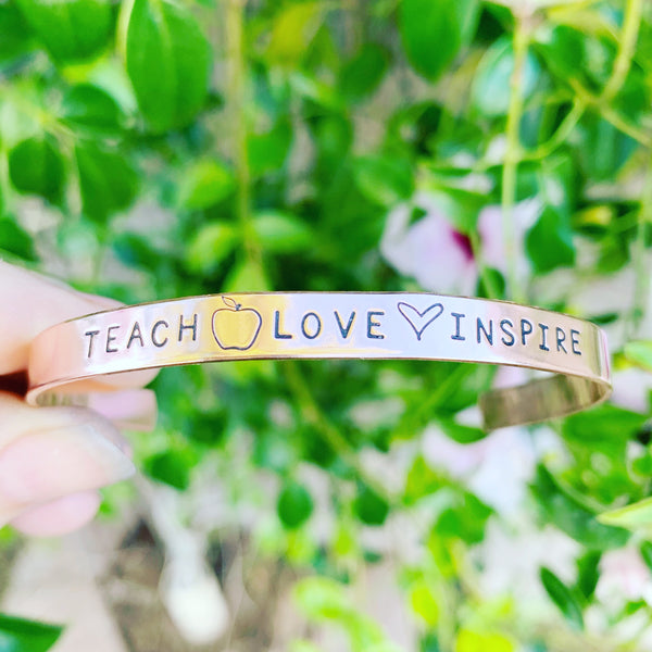 ¼ inch Copper Cuff - Teach . Love . Inspire