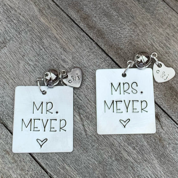 "Custom Stemless Wine Charms -Set of 2 - ""Mr. & Mrs."" Set"