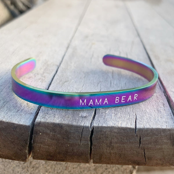¼ inch Stainless Steel Rainbow Cuff - Mama Bear