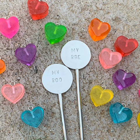 Set Of 2 Valentines Coffee Stirrers - My Boo, My Bae