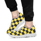 Checkered Yellow Pattern Print Design 03 Sneakers White