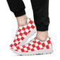 Checkered Red Pattern Print Design 04 Sneakers White