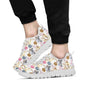 Cat Playing Yarn Pattern Print Design 07 Sneakers White
