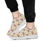 Aztec Wolf Pattern Print Design 03 Sneakers White