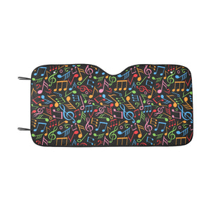 Music Note Colorful Themed Print Windshield Car Sun Shade