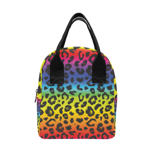 Rainbow Leopard Pattern Print Design A01 Insulated Lunch Bag