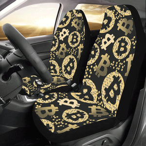 Bitcoin Pattern Print Design DO06 Universal Fit Car Seat Covers