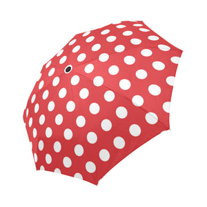 Polka Dot Red Pattern Print Design 04 Automatic Foldable Umbrella