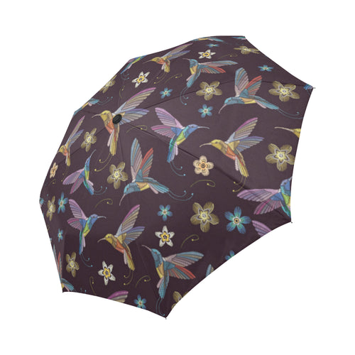 Hummingbird Pattern Print Design 04 Automatic Foldable Umbrella